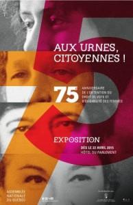 """Affiche de l'exposition """"Aux urnes, citoyennes !""""."""