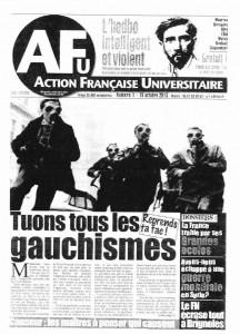 Une de l'Action Française Universitaire, 15 octobre 2013.