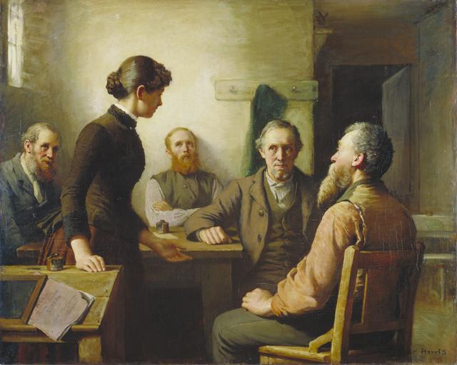 Une rencontre des commissaires d'école (1985), par Robert Harris. Musée des beaux-arts du Canada.