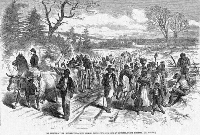 """""""Refuge slaves"""", Harper's Weekly, 21 février 1863."""