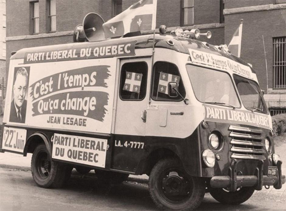 « C'est l'temps qu'ça change », le slogan du Parti libéral aux élections de 1960. Source : PLQ.